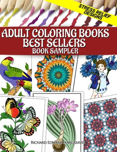 Adult Coloring Books Best Sellers Sampler Stress Relief Designs